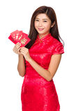 Woman hold with red pocket Royalty Free Stock Photography