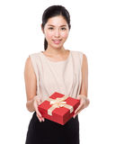 Woman hold with red present box Royalty Free Stock Images