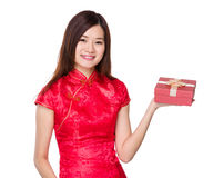 Woman hold with red present box Stock Photos