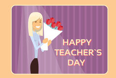 Woman Hold Rose Flower Bouquet Teacher Day Holiday Greeting Card Royalty Free Stock Photos