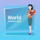Woman Hold Rose Flower Bouquet Teacher Day Holiday Greeting Royalty Free Stock Photos