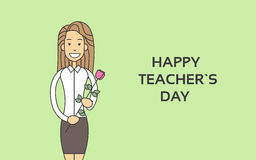Woman Hold Rose Flower Teacher Day Holiday Greeting Card Thin Line Royalty Free Stock Images
