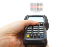 Woman hold scanner and scans barcode with laser vector illustration