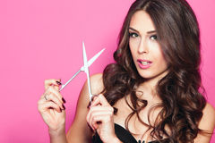 Woman hold scissors Royalty Free Stock Photography