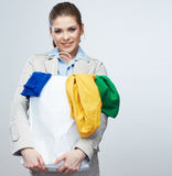 Woman hold shopping bag with clothes. Royalty Free Stock Image