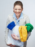 Woman hold shopping bag with clothes. Royalty Free Stock Photography
