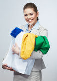 Woman hold shopping bag with clothes. Royalty Free Stock Images