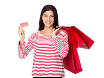 Woman hold with shopping bag and credit card Stock Image