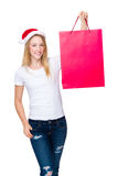 Woman hold with shopping bag. Isolated over white background Stock Photos