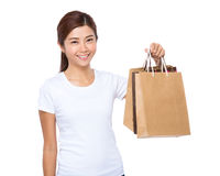 Woman hold shopping bag Royalty Free Stock Photography