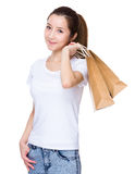 Woman hold with shopping bag. Isolated on white background Stock Photo