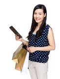 Woman hold with shopping bag and tablet Stock Photography