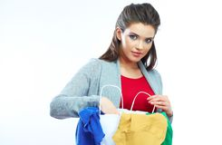 Woman hold shopping bags isolated on white background royalty free stock image