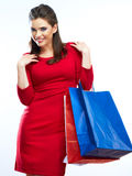 Woman hold shopping bags isolated on white background. Stock Photo
