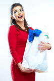 Woman hold shopping bags isolated on white background. Stock Photos