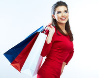 Woman hold shopping bags isolated on white background. Royalty Free Stock Photo