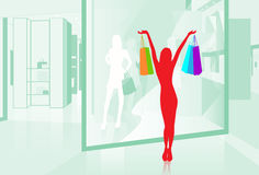Woman hold Shopping Bags Shop Window Vector Royalty Free Stock Photos
