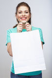 Woman hold shopping bags  on white background. Stock Photography