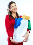 Woman hold shopping bags  on white background. Royalty Free Stock Images