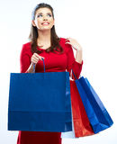 Woman hold shopping bags  on white background. Royalty Free Stock Photography