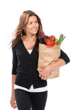 Woman hold shopping paper bag Stock Photo