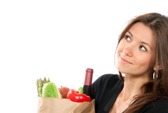 Woman hold shopping paper bag with vegetables Stock Photos