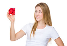 Woman hold with small gift Stock Photography