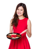 Woman hold with snack tray for lunar new year Royalty Free Stock Photography