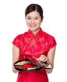 Woman hold with snack tray for lunar new year Royalty Free Stock Photo