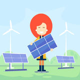 Woman Hold Solar Energy Panel Outdoor Wind Turbine Royalty Free Stock Photography