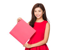 Woman hold with square blank paper Royalty Free Stock Photo