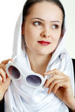 Woman hold sunglasses Royalty Free Stock Photo