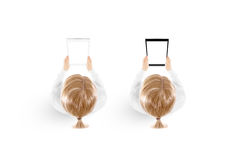 Woman hold tablet pc mockup in hand top view isolated Stock Photo