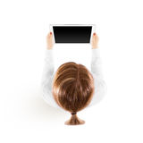 Woman hold tablet pc mockup in hand, top view isolated. Stock Images