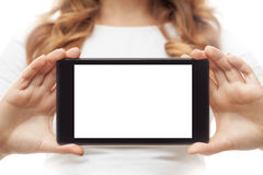 Woman hold tablet PC on white Royalty Free Stock Images