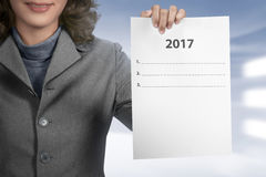 Woman Hold 2017 To Do List Royalty Free Stock Photography
