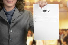 Woman Hold 2017 To Do List Stock Photography