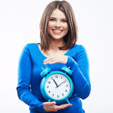 Woman hold watch on white background. Isolated female model. Stock Photos