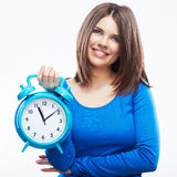 Woman hold watch on white background. Isolated female model. Royalty Free Stock Images