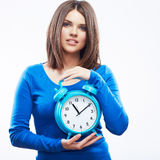 Woman hold watch on white background. Isolated fem Royalty Free Stock Photography