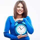 Woman hold watch on white background. Isolated female model. Stock Images