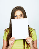 Woman hold white banner in face Royalty Free Stock Images