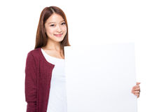Woman hold with white banner Stock Images