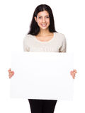 Woman hold with white banner. Isolated on white background Royalty Free Stock Photos