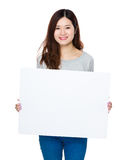 Woman hold with white banner Royalty Free Stock Images
