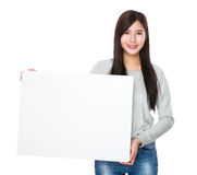 Woman hold white banner Royalty Free Stock Images