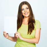 Woman hold white banner . Isolated portrait Royalty Free Stock Photo