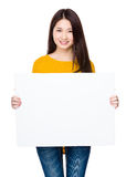 Woman hold with white board Royalty Free Stock Image