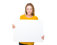 Woman hold with white board Stock Image