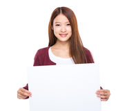 Woman hold with white board Stock Images
